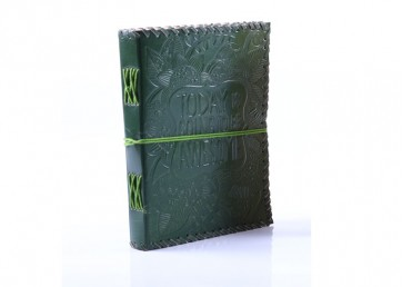 Leather embossed  notebook with strip and handmade paper inside