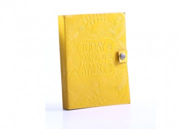 Leather embossed notebook with tich button and handmade paper inside