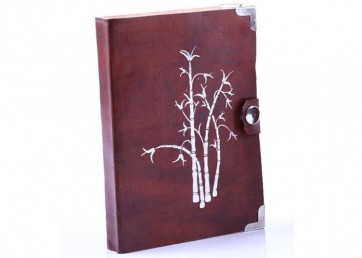 Leather foil print notebook with tich button and handmade paper inside