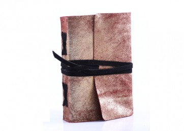 Suede leather notebook with leather strap and handmade paper