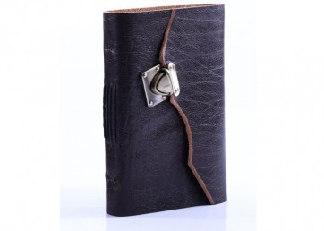Suede leather notebook with antique lock and handmade paper inside