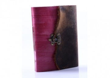 Double leather notebook (attached 2 leathers)with lock closure and handmade paper inside
