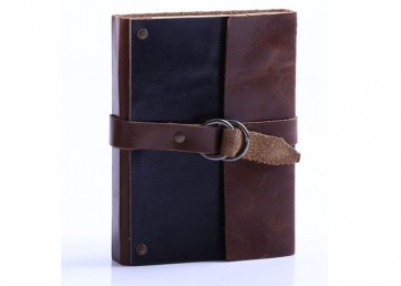 Suede leather notebook with leather strap closure and handmade paper inside