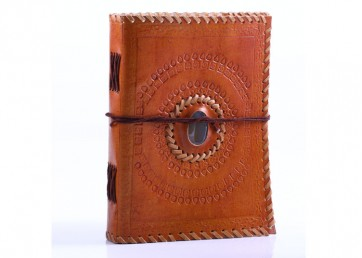 Stone leather embossed notebook with strap handmade paper inside
