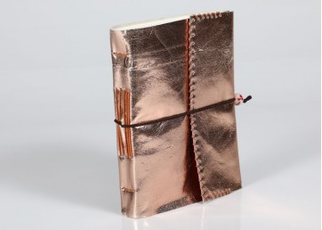 Leather notebook with belt and handmade paper inside