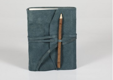 Suede leather notebook with leather strap and handmade paper inside
