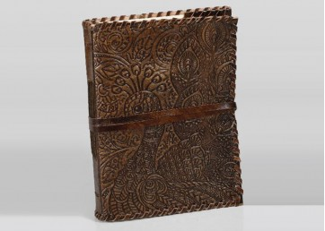 Leather embossed notebook with leather  strap  and handmade paper inside