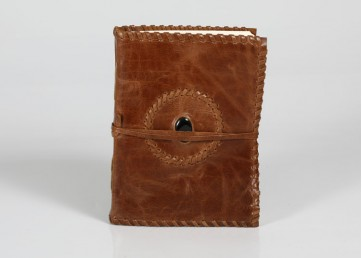 Leather notebook with leather strap and stone and handmade paper inside