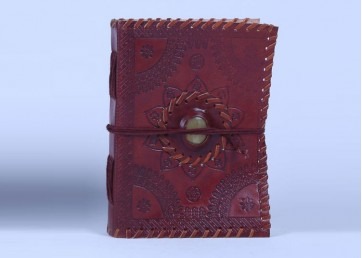 Leather embossed notebook with cotton strap and stone and handmade paper inside