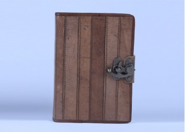 Special leather notebook with lock  and handmade paper inside